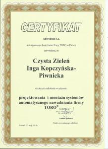 Czysta Zieleń certyfikat ukończenia szkolenia w zakresie projektowania i montażu systemów automatycznego nawadniania firmy TORO